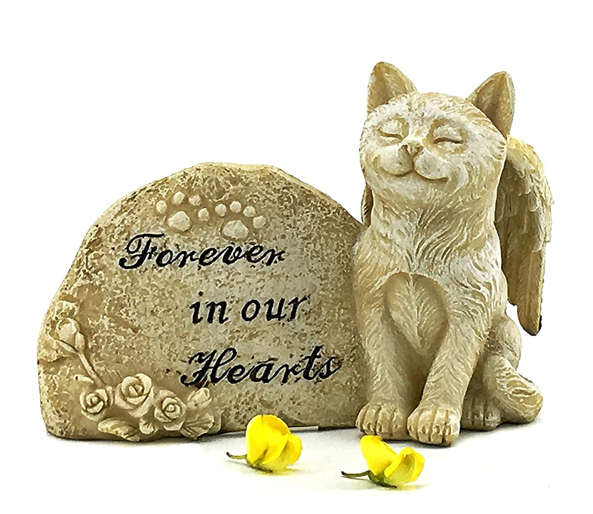 Elaan31 Cat Statue Memorial Pet Antique Stone Small Forever in our Hearts