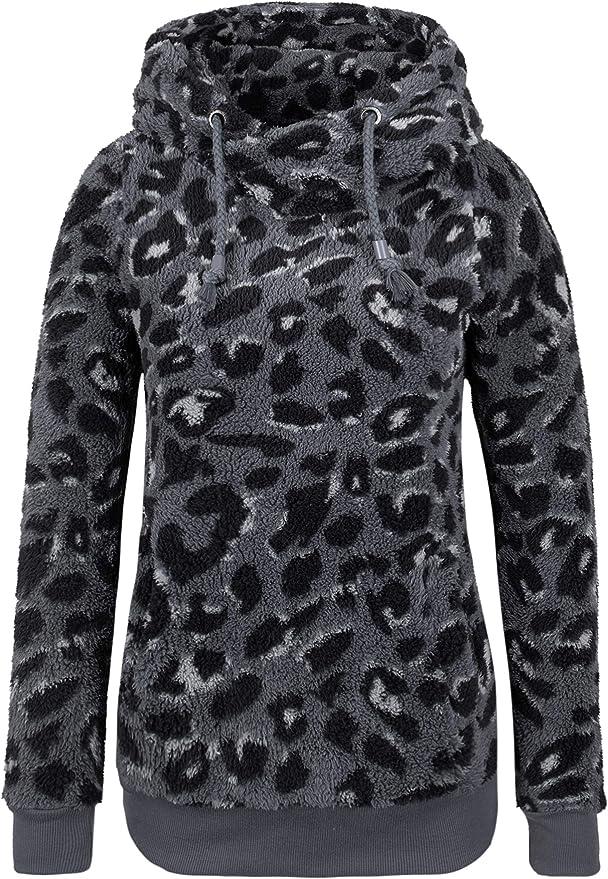 Sublevel Damen Fleece Kapuzenpullover Leopard Pullover Sweater Plüsch Pulli