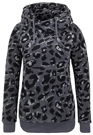 dc2edfc73844 Sublevel Damen Fleece-Pullover mit Leo Print und Kapuze  Amazon.de   Bekleidung