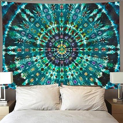 HOMESTORES Spiral Tie Dye Mandala Green Wall Tapestry Hippie Art Hanging Home Decor Extra