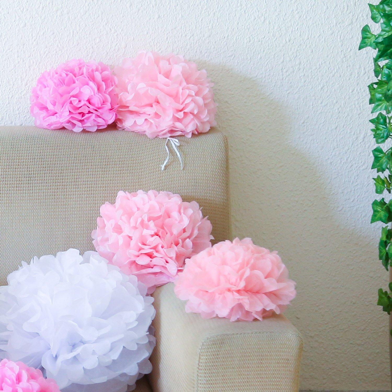 20,25,35cm Bliqniq 15 DIY Pompom Pompons Papierblumen Dekoration f/ür Hochzeit// Gebutztag// Baby Shower// Weihnachten Wei/ß//Hellrosa//Rosa