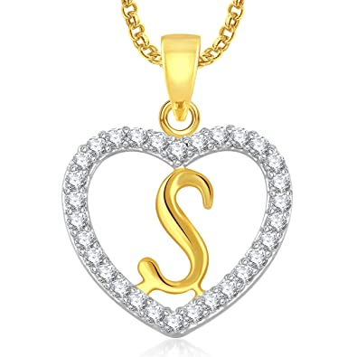 Buy meenaz jewellery gold plated s letter pendant for girls meenaz jewellery gold plated s letter pendant for girls women men unisex with chain aloadofball Choice Image