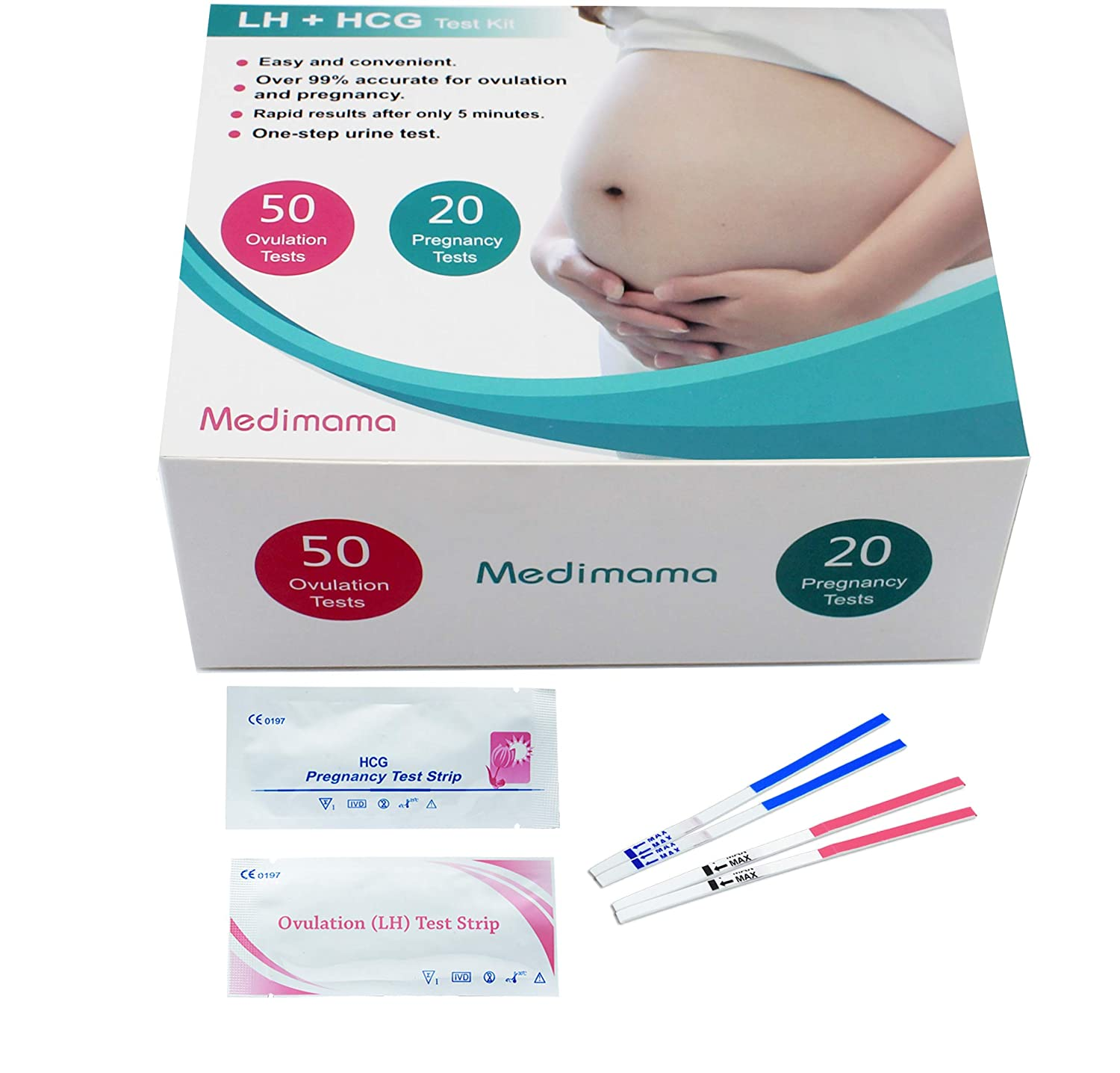25 Ovulation Test Strips and 5 Pregnancy Test Strips Combo Kit(25 LH + 5 HCG) by Medimama