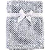 Hudson Baby Unisex Baby Plush Waffle Blanket, Gray, One Size