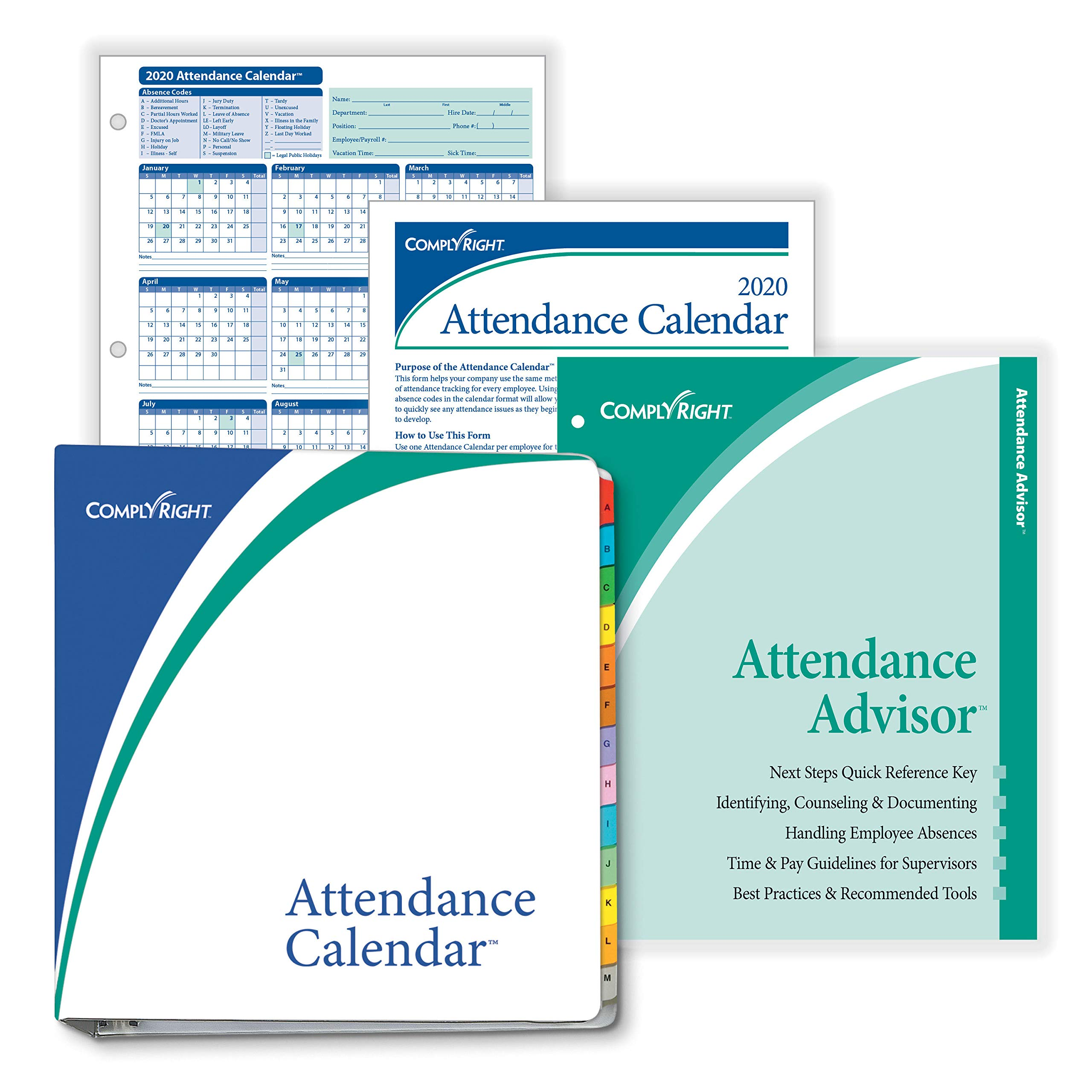 ComplyRight 2020 Attendance Calendar Kit, White, Pack of 50 by ComplyRight