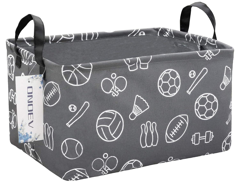 ONOEV Rectangular Folding Laundry Basket, Canvas Basket,Nersury Hamper,Suitable for Children,Office,Bedroom,Clothes,Toys Storage(Grey Sports Ball)