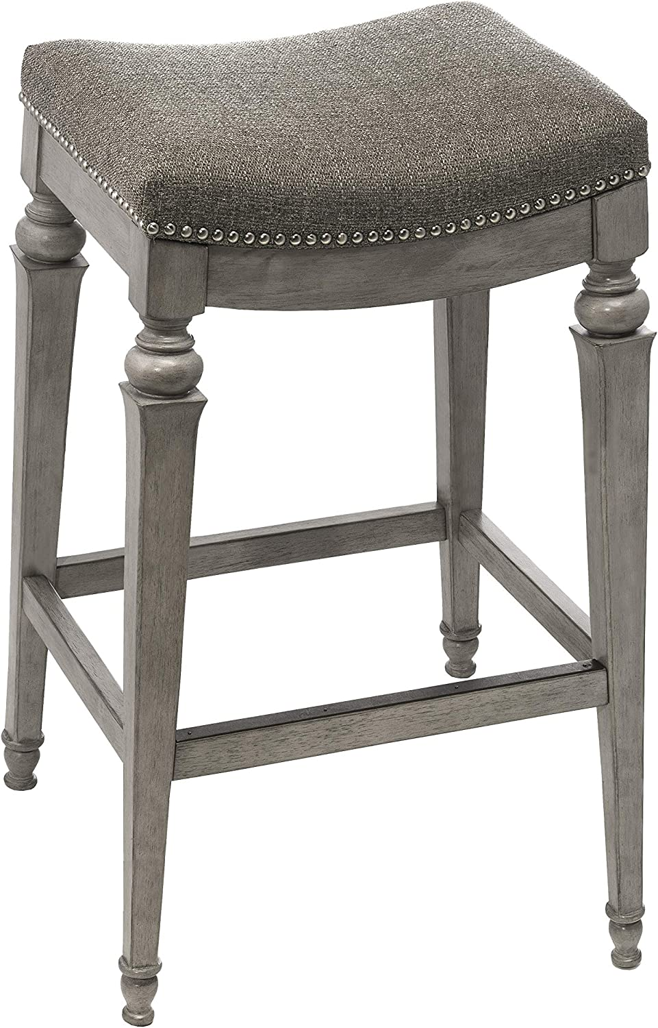 Hillsdale Furniture Vetrina Backless Non-Swivel Bar Stool, Weathered Grey