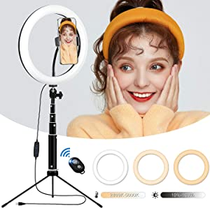 10'' Desktop Ring Light with Tripod Stand and Phone Holder, Height Adjustable Selfie Circle Light with Remote for Makeup, TikTok, Live Streaming and YouTube Video Shooting