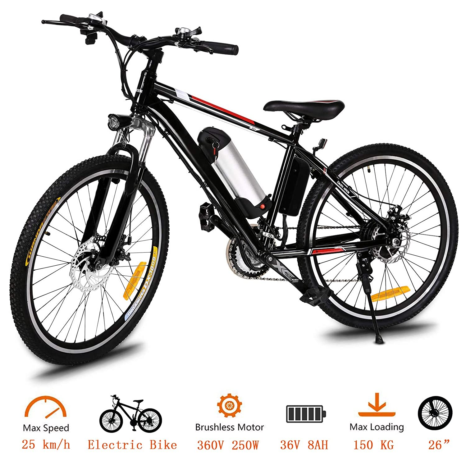 Tomasar Power Electric Bike with Lithium-Ion Battery, 26 inch Wheel Cyclocross Bike (US Stock)