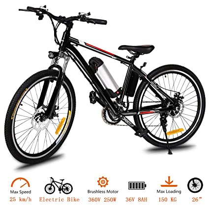 Tomasar Power Electric Bike With Lithium Ion Battery 26 Inch Wheel Cyclocross
