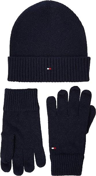 Tommy Hilfiger Damen Flag Knit Beanie /& Gloves Gp M/ütze Schal /& Handschuh-Set