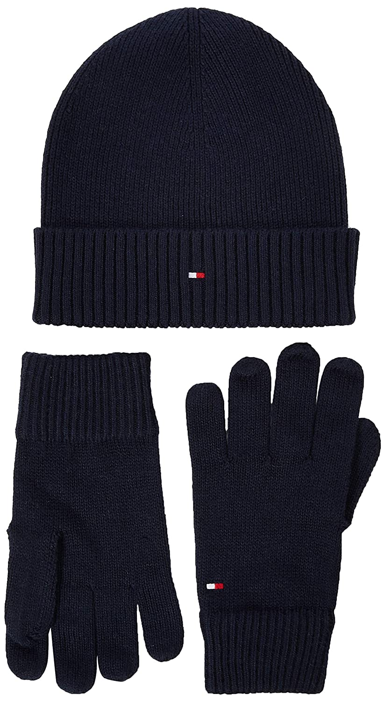 Tommy Hilfiger Pima Cotton Beanie /& Gloves GP Set Cappelino e Guanti Uomo