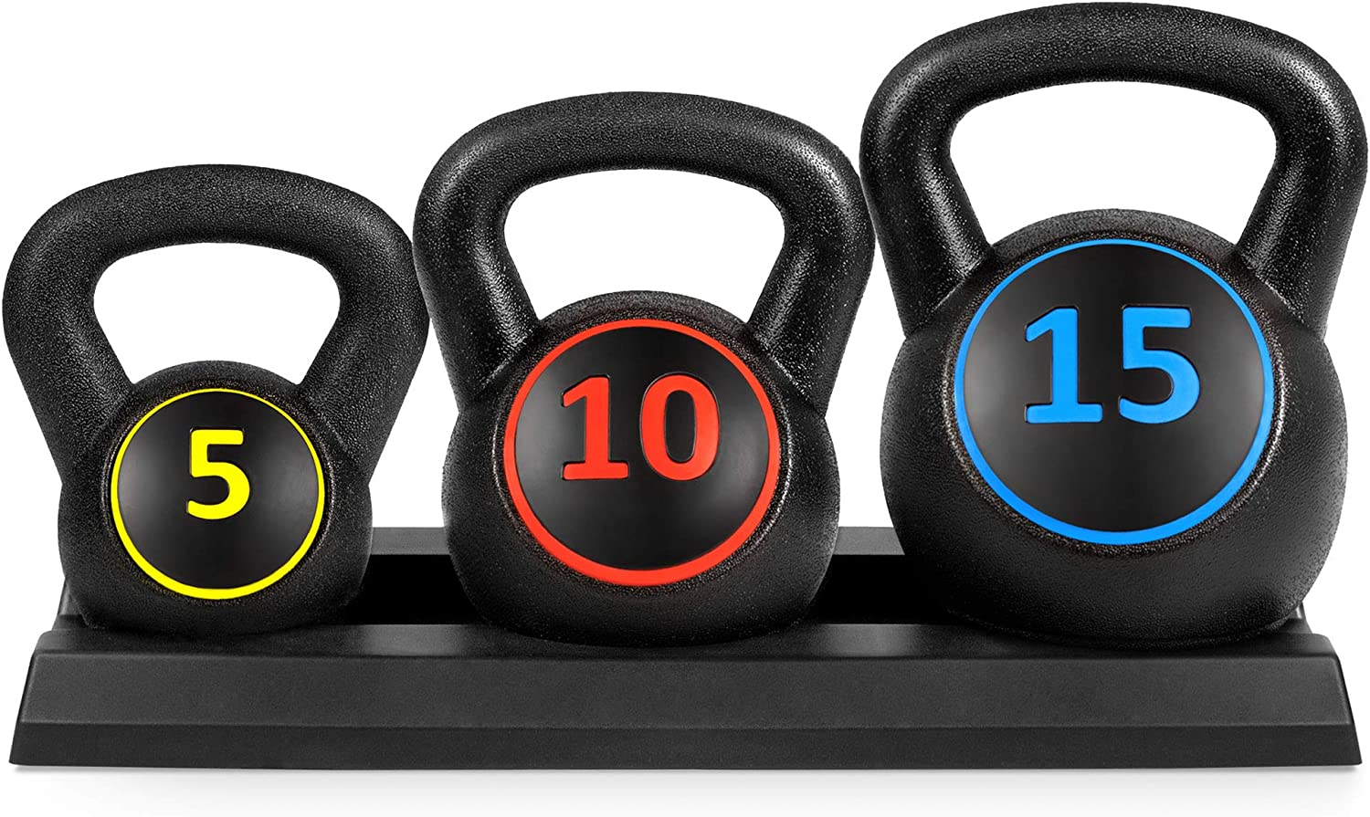 Amazon Prime Day Deals - Best Choice Products 3-Piece HDPE Kettlebell Exercise Fitness Weight Set w/Base Rack, 5lb, 10lb, 15lb Weights