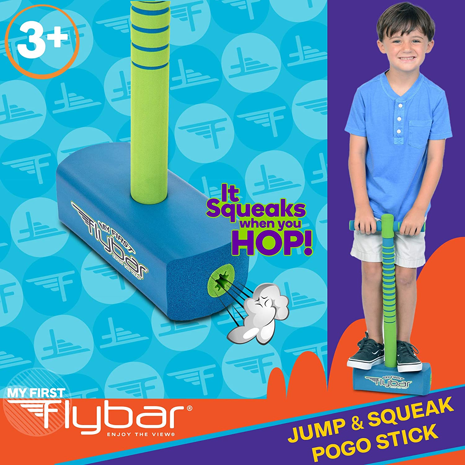 My First Foam Jump and Squeak Pogo Stick Blue Safe Pogo Stick for Kids Toddlers Ages 3 /& Up