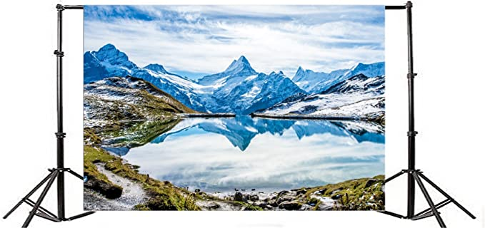 8x8FT Vinyl Photo Backdrops,Nature,Alps Mountain Foggy Lake Photo Background for Photo Booth Studio Props