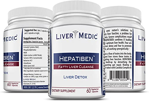 Hepatiben – Liver Detox Cleanse by Liver Medic. Detoxifies and Regenerates with Additional Gut Repair Ingredients. Milk Thistle Silymarin , Choline, Turmeric, ALA, Glutathione