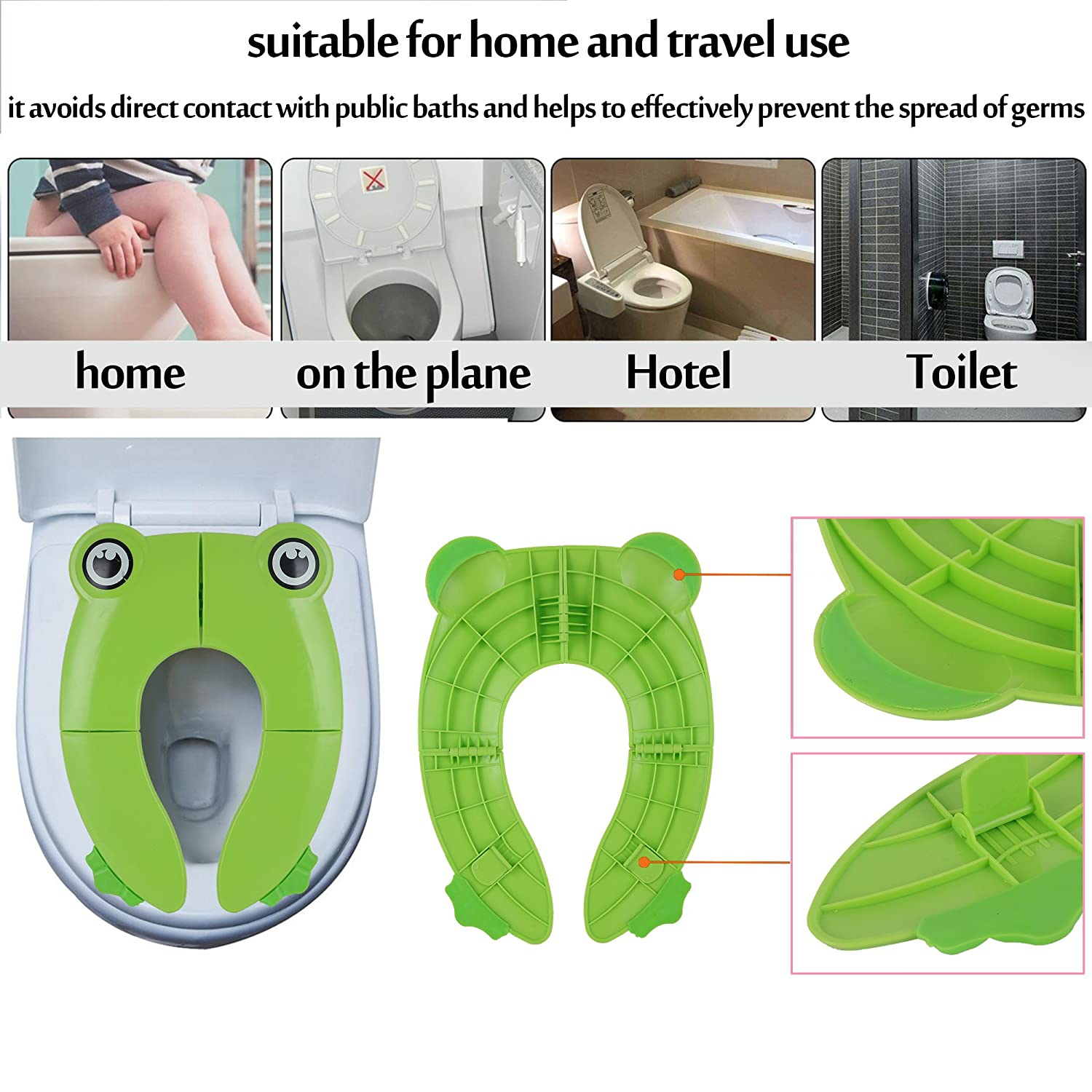 Ziidoo Travel Portable Folding Potty Training Toilet Seat Cover Liners with Carry Bag and Customary Card Non Slip Silicone Pads Yellow Suitable for Kids Baby Boys and Girls
