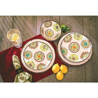 18 Piece Melamine Dinnerware Set Medallion Pattern (Ivory)