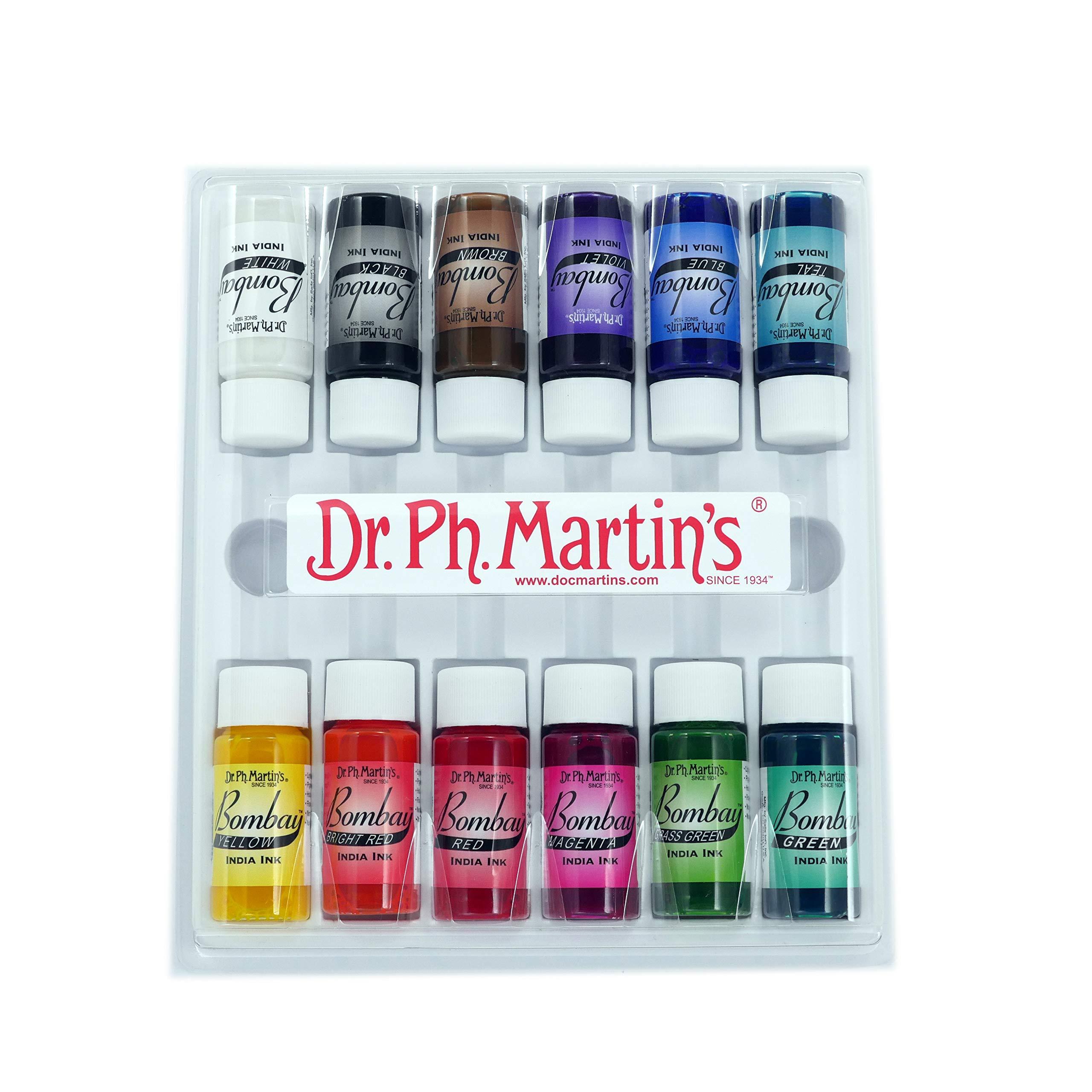 Dr. Ph. Martin's Bombay India Ink (Set 1) Ink Set, 0.5 oz, Set 1 Colors, 1 Set of 12 Bottles by Dr. Ph. Martin's