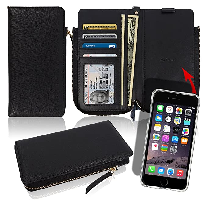 Amazon iphone6 iphone6s zipper wallet case 4 credit card id iphone6 iphone6s zipper wallet case 4 credit card id 2 cash slots pockets reheart Choice Image