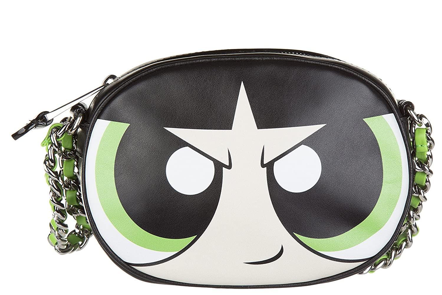 76933d303a Moschino women's leather shoulder bag original powerpuff girls green:  Amazon.co.uk: Shoes & Bags