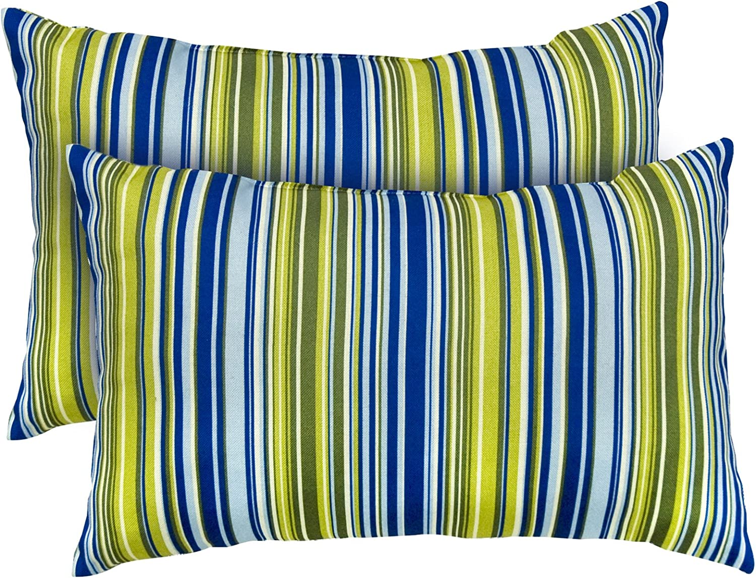Greendale Home Fashions Rectangle Indoor Accent Pillows with Vivid Stripe, Set of 2