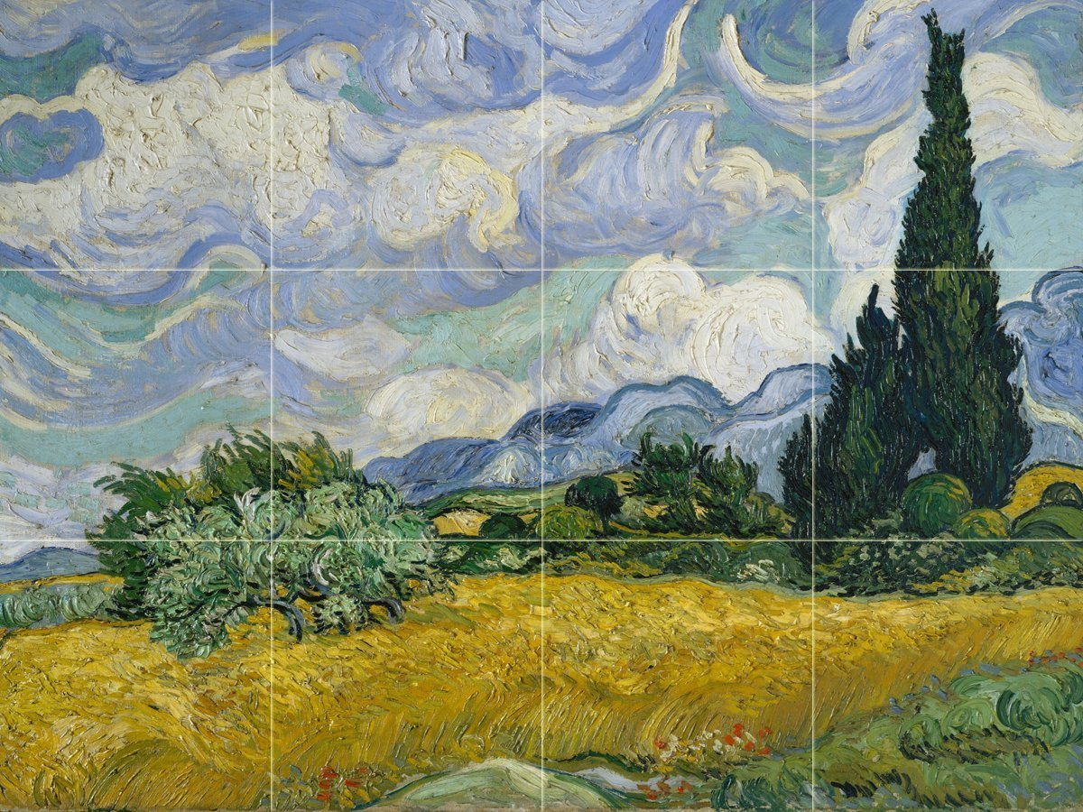 Wheat Field with Cypresses by Vincent van Gogh Tile Mural Kitchen Bathroom Wall Backsplash Behind Stove Range Sink Splashback 4x3 6'' Ceramic, Matte by FlekmanArt