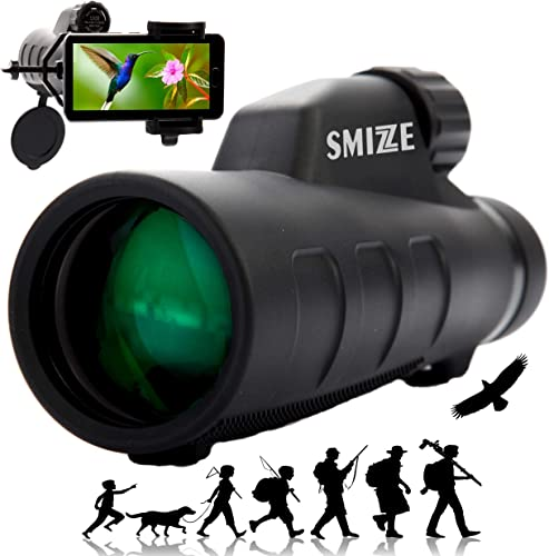 SMIZZE Deluxe Monocular Telescope 12X50 High Power with Smartphone Holder BAK-4 Prism Waterproof FogProof Shockproof Durable Compact Monoscope Quick Focus for Bird Watching Adults Hunting Camping
