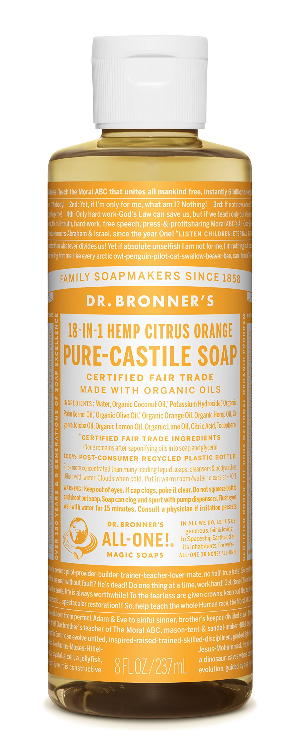 Dr. Bronner Citrus Orange Liquid Soap, 8 Ounce