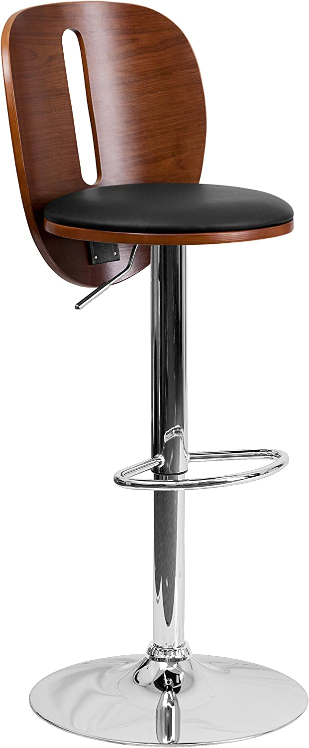 Flash Furniture Walnut Bentwood Adjustable Height Barstool with Cutout Extended Back and Black Vinyl Seat
