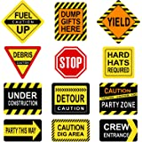 Construction Themed Party Decorations, 10 - 11.8 Inch Laminated Caution Traffic Signs, Construction Theme Party Signs, Paper