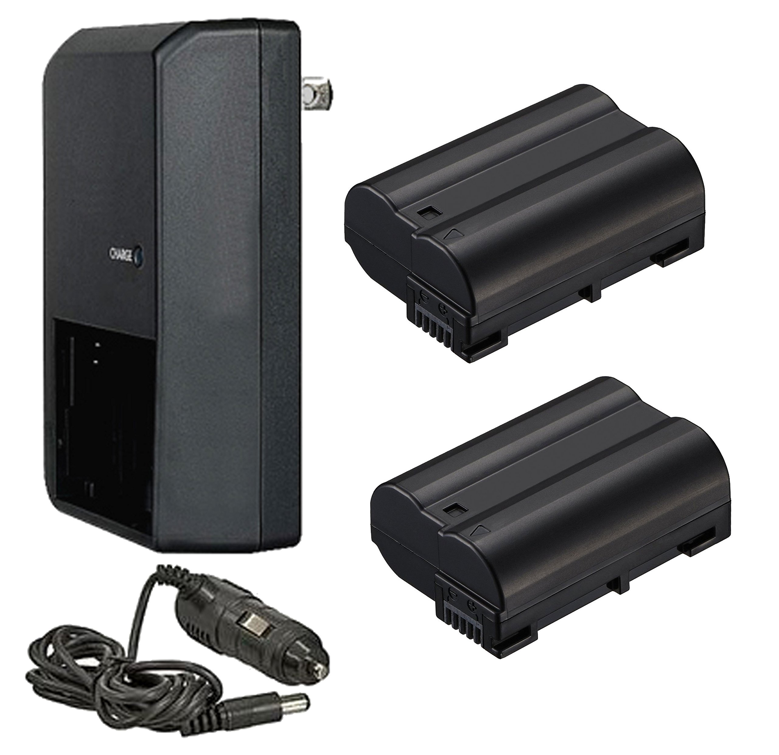 Nikon D850 High Capacity 'Intelligent' Batteries (2 Units) + AC/DC Travel Charger + Nwv Direct Microfiber Cleaning Cloth.