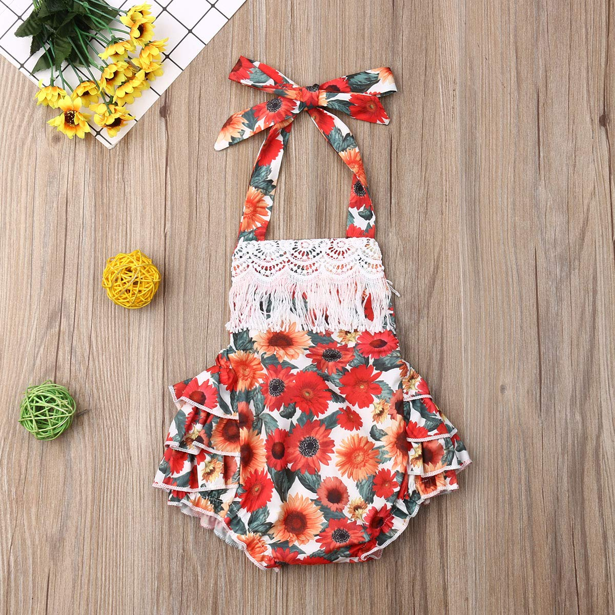 Newborn Baby Girls Sunflower Clothes Halter Tassel Floral Romper Bodysuit Ruffle Skirt Jumpsuit Outfits
