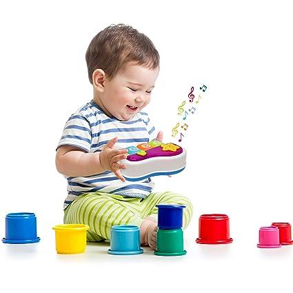 Amazon.com: Juguete de piano para bebé, llaveros iluminados ...