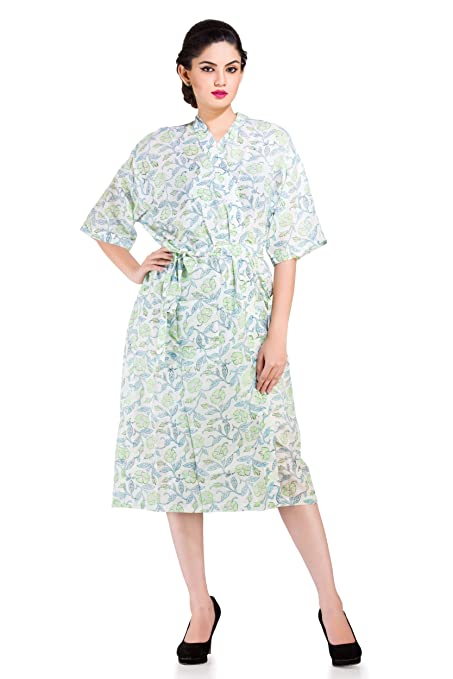 3c1166f770 Handicraft-Palace White Floral Printed for Bath Robe Nightgown Spa Robe  Pool Side Dress Nightwear