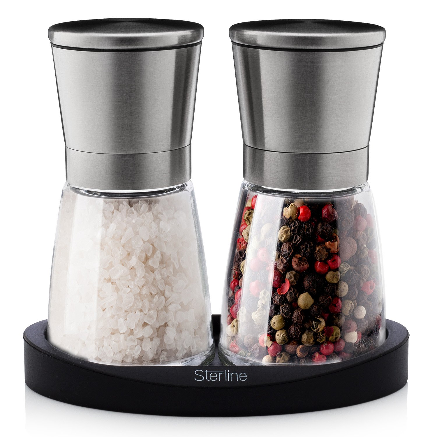 amazoncom sterline premium salt and pepper grinder shaker set  - amazoncom sterline premium salt and pepper grinder shaker set adjustablefine precision grinding manual refillable spice mill set for black pepperand