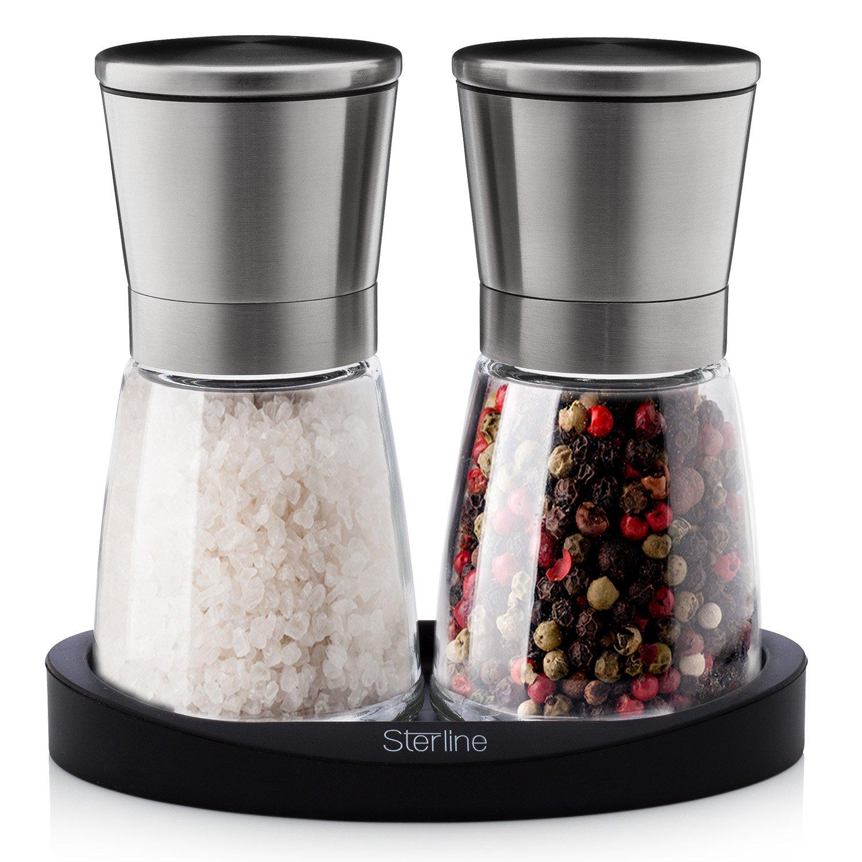 Sterline Premium Salt and Pepper Grinder Shaker Set, Adjustable Fine Precision Grinding, Manual Refillable Spice Mill Set for Black Pepper and Rock Salt ST-SP3
