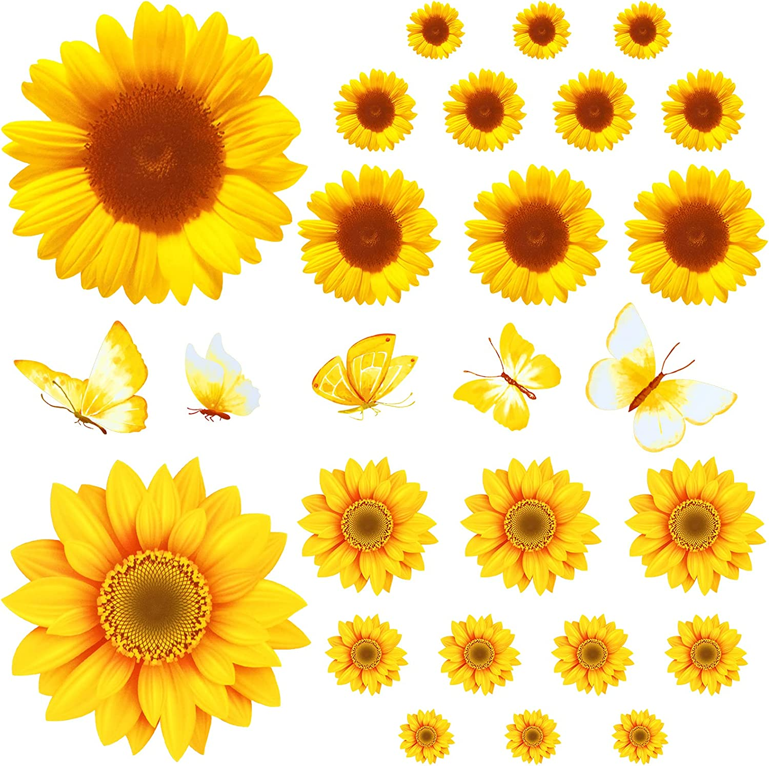 27 Pieces Sunflower Wall Sticker Yellow Flower Wall Decals 3D Butterfly Sticker Yellow Flower Decals Decorations Nursery Daisy Floral Stickers for Kids Baby Living Room Decorations