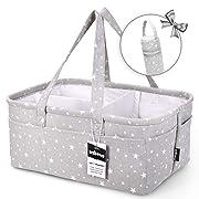 Unique Baby Diaper Caddy Organizer - Large Nursery Storage Bin for Changing Table | Car Travel Tote Bag | Boy Girl Shower Gift Basket | Newborn Registry Must Haves | Free Bonus Bottle Cooler