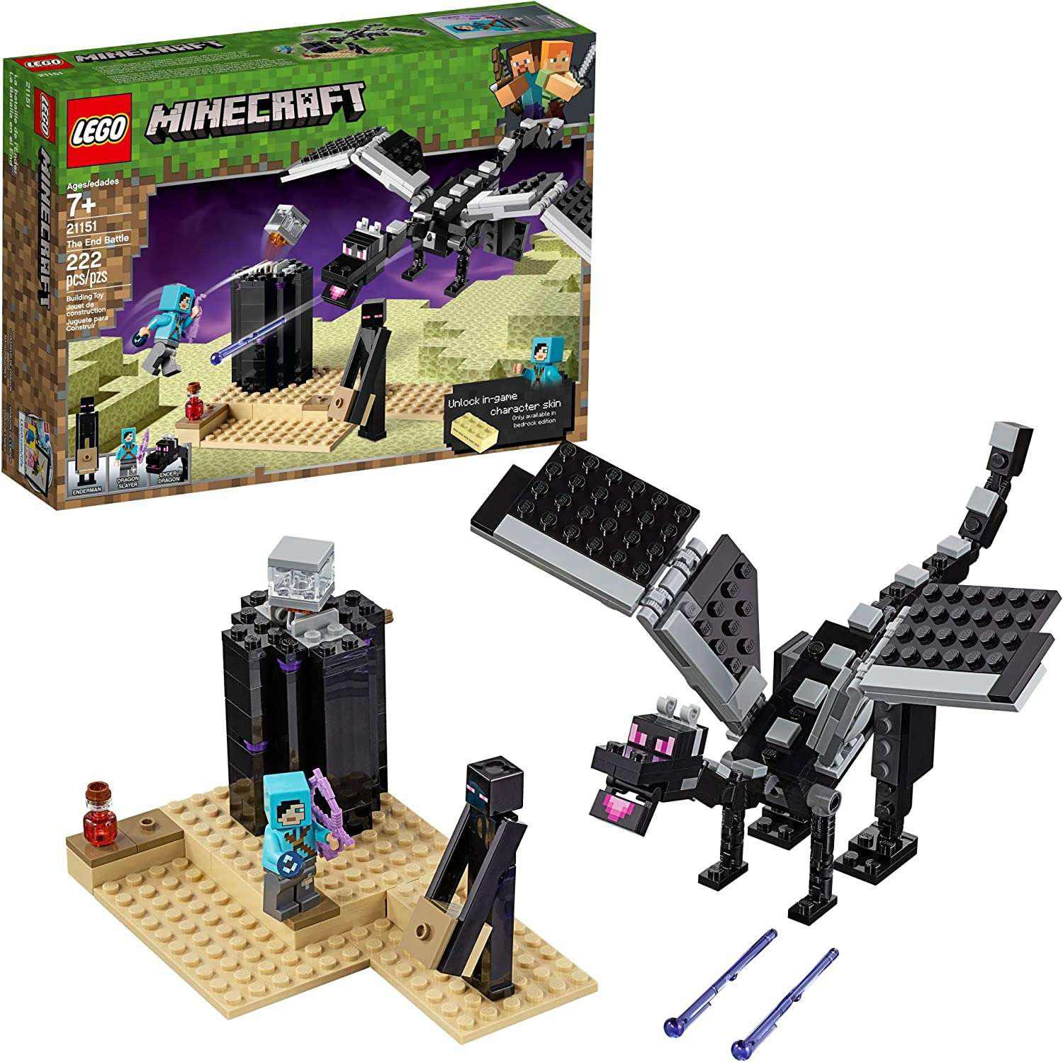 LEGO Minecraft The End Battle 21151 Ender Dragon Building Kit includes Dragon Slayer and Enderman Toy Figures for Dragon Fighting Adventures (222 Pieces)