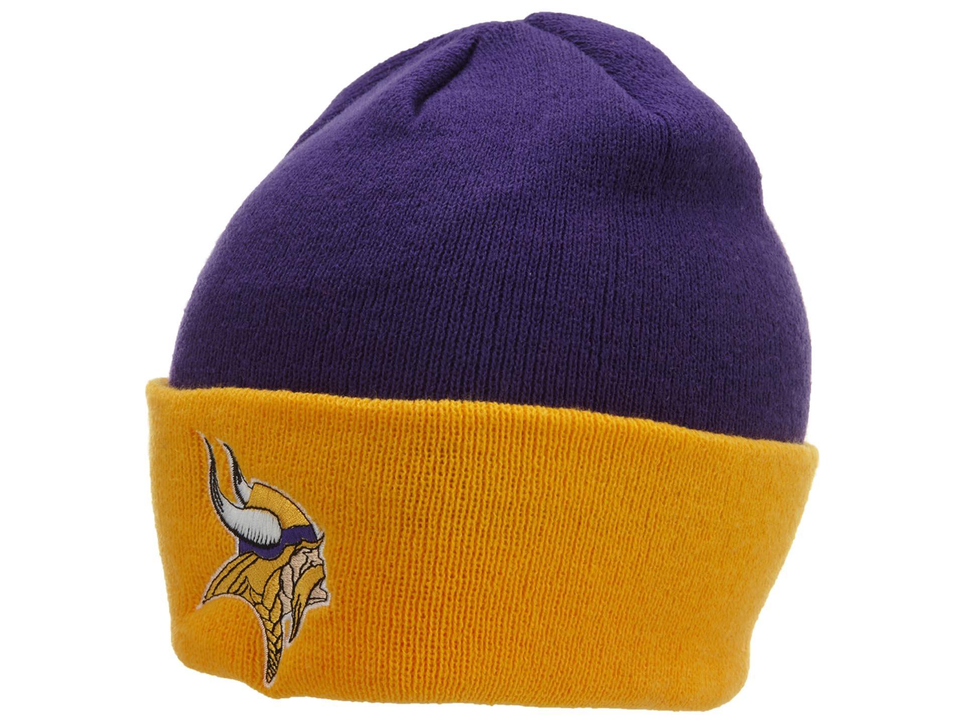 NFL End Zone Cuffed Knit Hat - K010Z, Minnesota Vikings, One Size Fits All