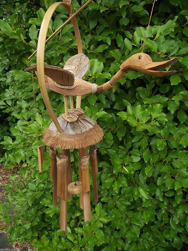 Pato móvil de bambú/de viento - hecho a mano en Bali - 55 cm largo - procedentes del comercio justo!: Amazon.es: Jardín