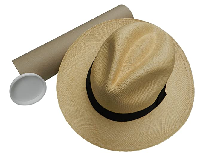 e2b176d6dc3 Equal Earth New Genuine Panama Hat Rolling Folding Quality with Travel Tube  - Natural  Amazon.co.uk  Clothing