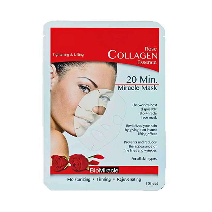 Bio-Miracle Anti-Aging and Moisturizing Face Mask, Rose, 5 Count