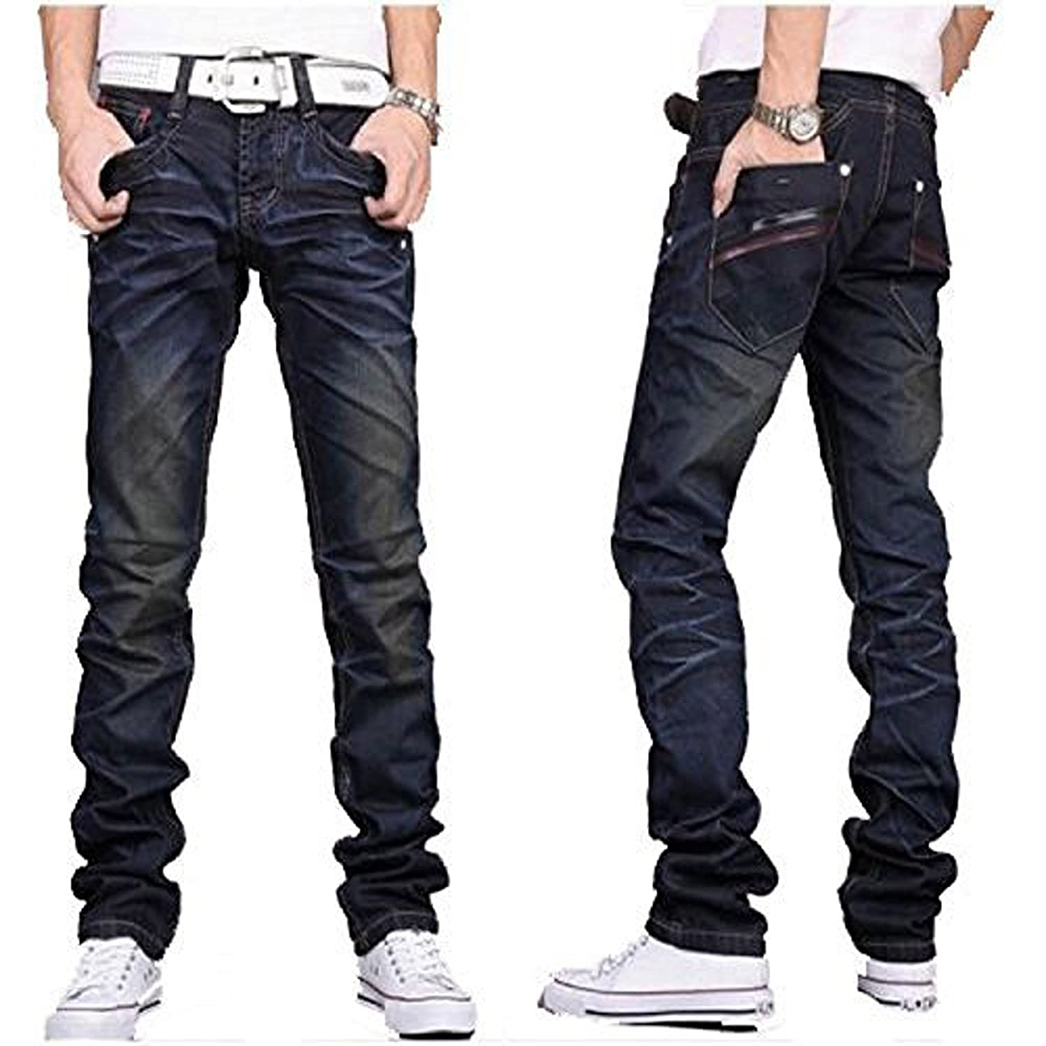 d6e0a17b5b0e New Men s Designer jeans Casual Dark Blue F002 Denim Mens Pant Trousers  Jeans Blue F002 W38 x L32  Amazon.ca  Clothing   Accessories