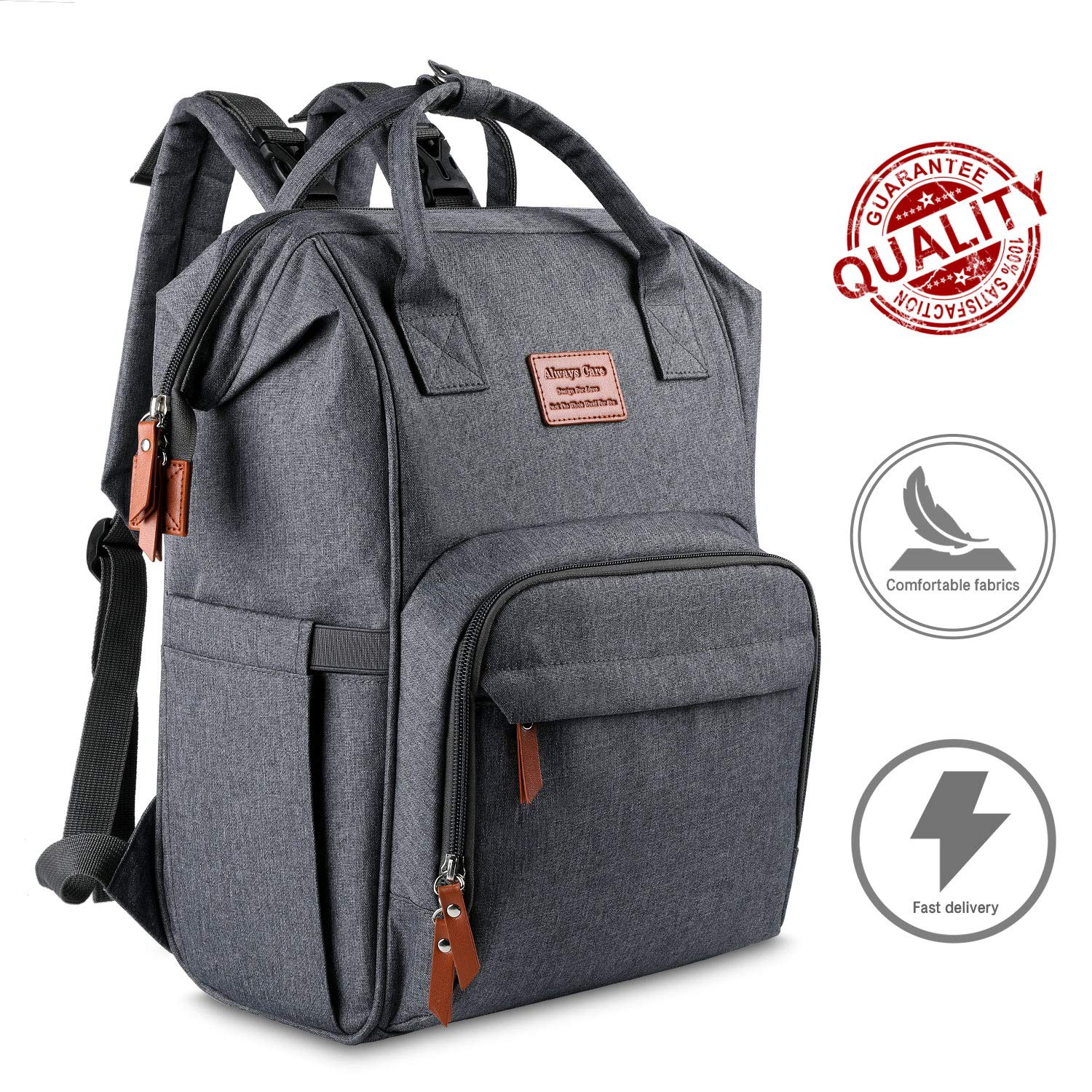 Diaper Bag Backpack for Dad Strong Strap Land Diaper backpack Sturdy Zipper Grey Baby Bag Backpack for Girls /& Boys Baby Backpack Diaper Bag for Mom