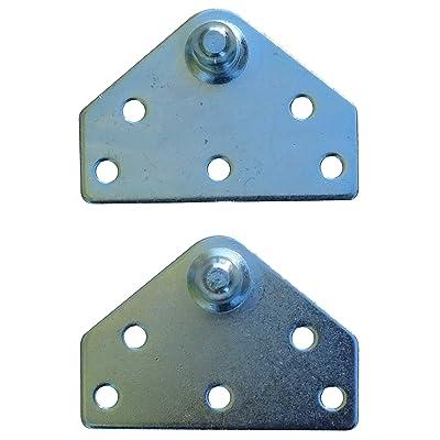 Large Flat Lift Support Bracket - Zinc Plated 14 Gauge Steel - 10mm Ball Stud - Gas Shock Mounting - Lid Strut Prop Spring Mount: Automotive
