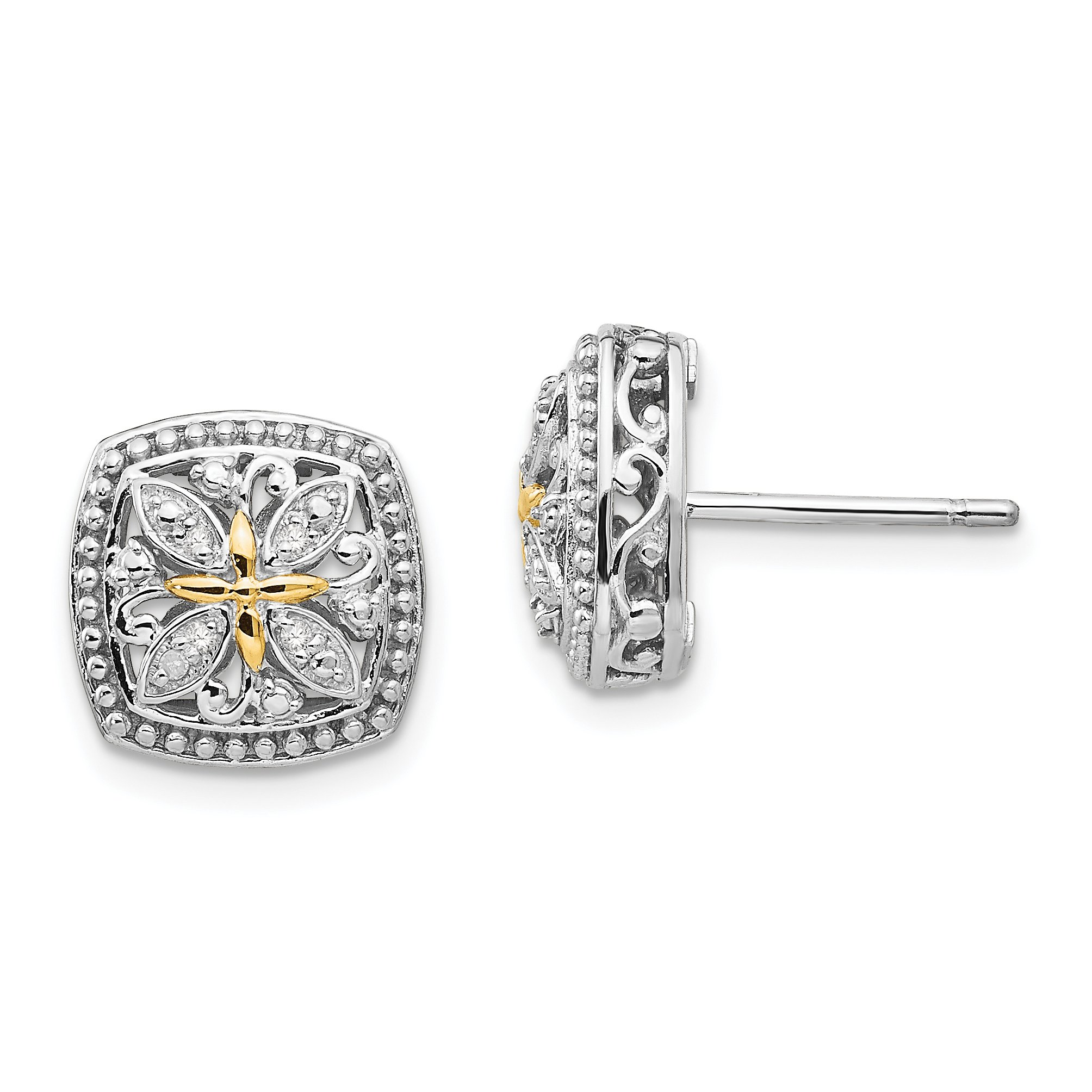 ICE CARATS 925 Sterling Silver 14k Diamond Post Stud Ball Button Earrings Fine Jewelry Gift Set For Women Heart