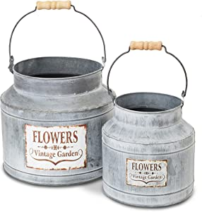 Large Galvanized Bucket Planter, Metal Tin Buckets for Flowers (2 Sizes, 2 Pack)