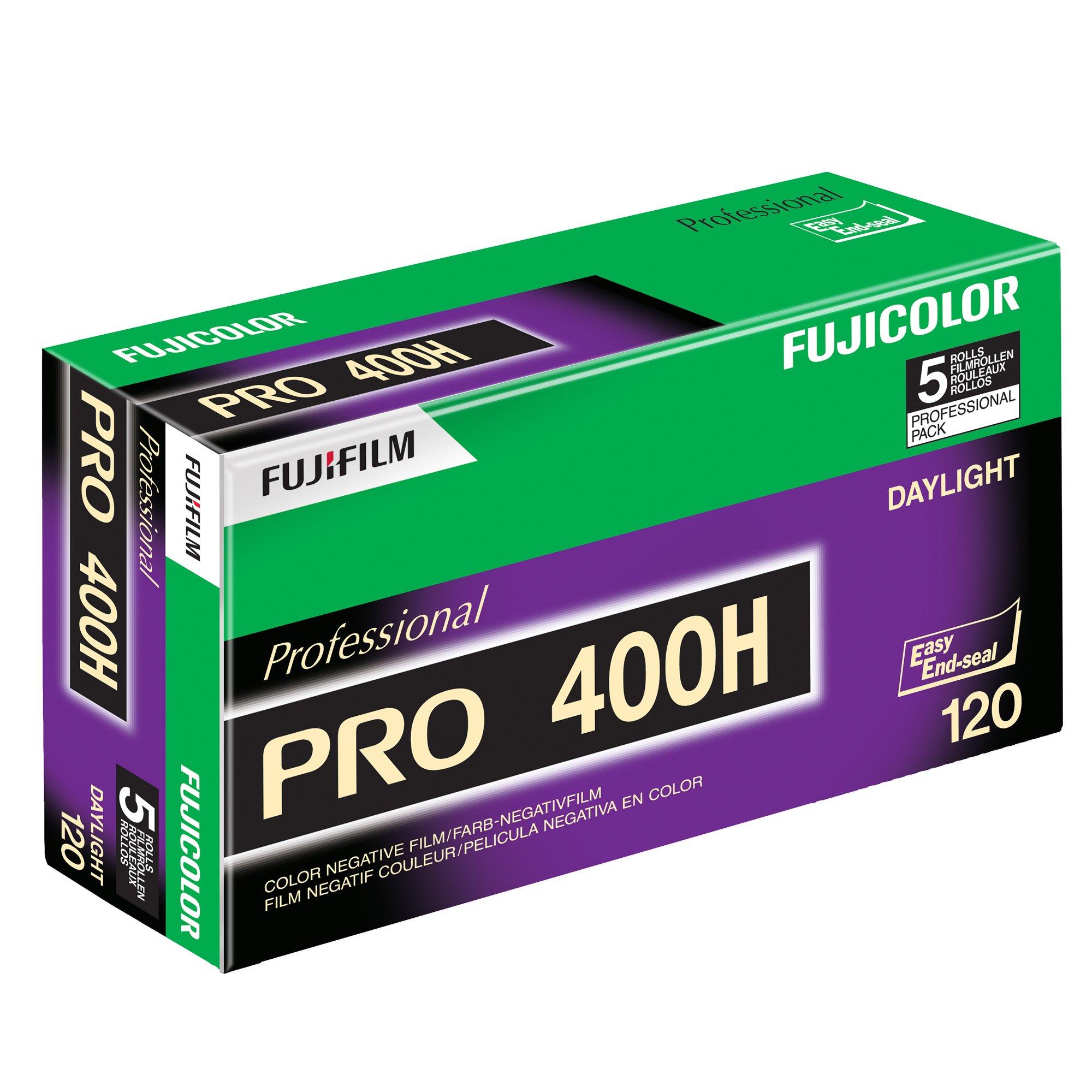 Fujifilm 16326119 Fujicolor Pro 120, 400H Color Negative Film ISO 400 - 5 Roll Pro Pack (Green/White/Purple) by Fujifilm